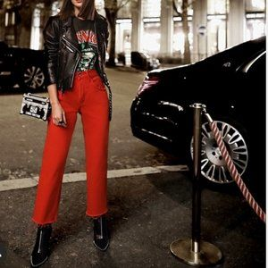GRLFRND Linda Denim Red Cropped Flare Jeans NWT
